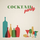 Retro Coctail party invitation card. Vector Retro Coctail party invitation card with glasses and bottles royalty free illustration