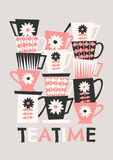 Retro Coffee Cups. Mid-century style illustration of stacked coffee cups in black, pastel pink and cream on taupe background. Stylish and modern greeting card Stock Images