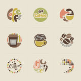Retro coffee emblems. Set of vectors Stock Photos