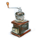 Retro coffee grinder on white background Royalty Free Stock Photography