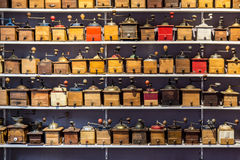 Retro coffee grinders aligned in rows Stock Photo