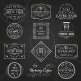 Retro Coffee Labels Black. Vintage Retro Coffee Labels and Badges set. Typographic Background With Chalk Word Art On Blackboard. Vector Illustration Royalty Free Stock Images