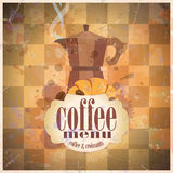 Retro coffee menu card design. Royalty Free Stock Photography