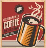 Retro coffee  poster. Vintage poster template for fresh brewed coffee. Retro label or banner design. Vector old paper texture food and drink background concept Royalty Free Stock Images