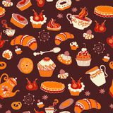 Retro coffee seamless pattern, tea background Stock Photography