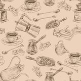 Retro coffee set seamless pattern Stock Images