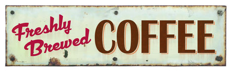Retro Coffee Sign. Retro Coffee Tin Sign Fresh Brewed royalty free stock image