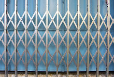 Retro collapsible gate. Detail of retro collapsible steel gate Stock Photos