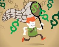 Retro Collectieve Kerel achtervolgt de dollar. Stock Afbeeldingen