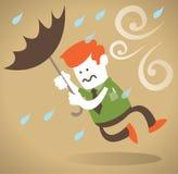 Retro Collectieve Kerel die met Paraplu wordt weggeblazen. Royalty-vrije Stock Foto