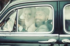 Retro collection car and auto repair by mechanic driver. retro couple in love drive old fashioned car in traveling. stock photos