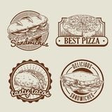 Retro collection of fast food badge Stock Images