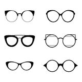 Retro collection of 6 various glasses. Sunglasses black silhouettes. Eye glasses set. Vector illustration Stock Photography