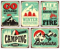 Retro collection of winter vacation signs. And posters. Outdoor activities promotional set of signposts. Winter holiday, camping, adventures, mountains, hiking Stock Illustration