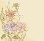 Retro color flowers on grunge background Stock Image