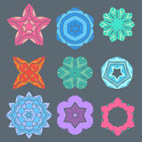 Retro color geometry ornament design on gray background Stock Photo