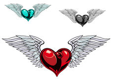 Retro color heart tattoo. Retro color heart with wings for tattoo design Royalty Free Stock Photo