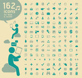 162 Retro color Icons for Web. Stock Photo