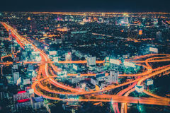 Retro color Line of road in capital city Thailand. (Bird eye view Bangkok,Thailand Stock Photos