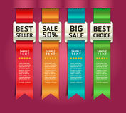 Retro Color Medals with Ribbon Style Banner. Royalty Free Stock Images