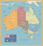 Retro Color Political map of Australia Royalty Free Stock Photo