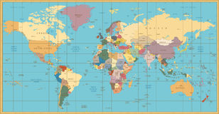 Retro color political World Map. All elements are separated in editable layers clearly labeled Stock Images