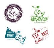 Retro color skateboarding labels, logos and stickers vector set Stock Photos