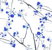Retro color tone of flower branch with white background Stock Photo