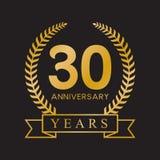 retro colore dell'oro della trentesima di anniversario di anni corona dell'alloro illustrazione di stock