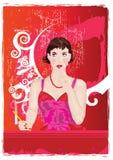 Retro colore rosso della donna Fotografia Stock
