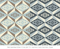 Retro colore senza cuciture Set_173 Diamond Check Geometry Flower del modello 2 illustrazione di stock