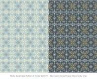 Retro colore senza cuciture Set_271 Diamond Cross Flower Geometry Line del modello 2 illustrazione vettoriale