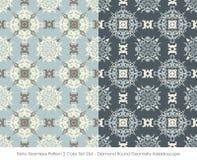 Retro colore senza cuciture Set_264 Diamond Round Geometry Kaleidoscope del modello 2 illustrazione vettoriale