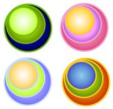 Retro Colored Circles Icons vector illustration