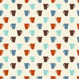 Retro colored coffee cups seamless pattern stock photos