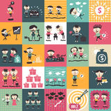 Retro colored icons with people royalty free illustration
