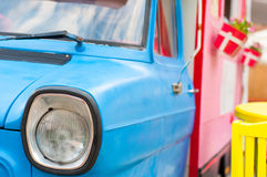 Retro colored van. Retro van painted in bright and vibrant colors Royalty Free Stock Images