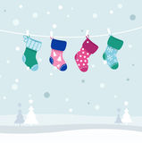 Retro Colorful Christmas Stockings Collection Stock Photography