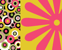 Retro colorful circles and floral collage. In bright neon colors stock illustration