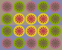 Retro colorful circles and floral collage Stock Photo