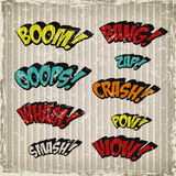 Retro colorful comic sound effects set Stock Photos