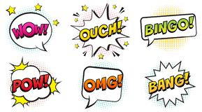 Retro colorful comic speech bubbles set with halftone shadows on white background. Expression text OUCH, BINGO, POW, OMG, BANG, WOW. Vector illustration, pop Stock Photo