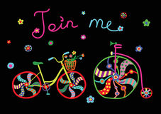 Retro colorful cute doodle bicycles vector illustration Royalty Free Stock Photo