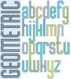 Retro colorful font with repeated lines, geometric poster letter Royalty Free Stock Photo