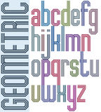Retro colorful font with triple equal lines, geometric Royalty Free Stock Photos