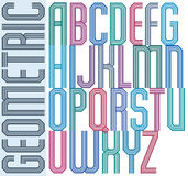 Retro colorful geometric font with parallel lines, decorative po Royalty Free Stock Photos
