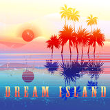 Retro colorful island paradise. With palm trees Stock Images