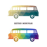 Retro colorful minivan. Classic vintage hippie van. Royalty Free Stock Photo