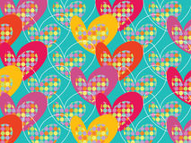 Retro colorful pop dots hearts on turquoise Stock Image