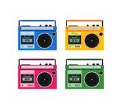 Retro colorful radio icons set Stock Photography